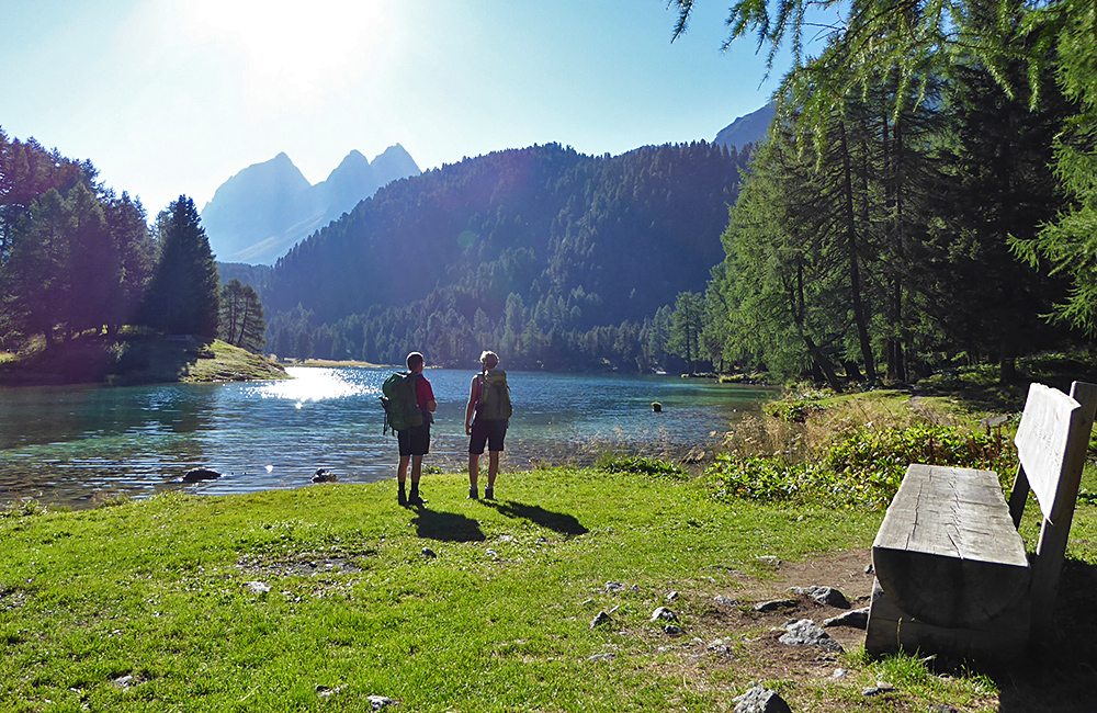 trekking in the swiss alps of grissons